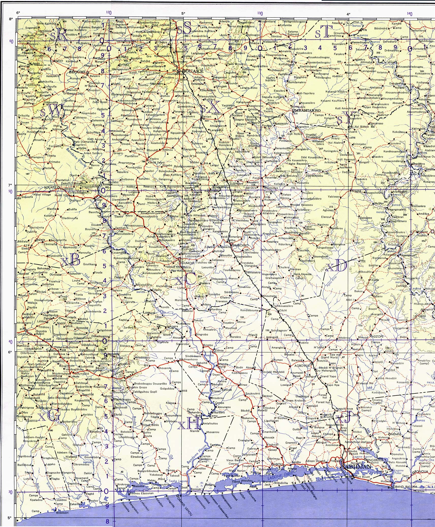 Cote DIvoire Ivory Coast Maps PerryCastañeda Map Collection - Images map sheets of us