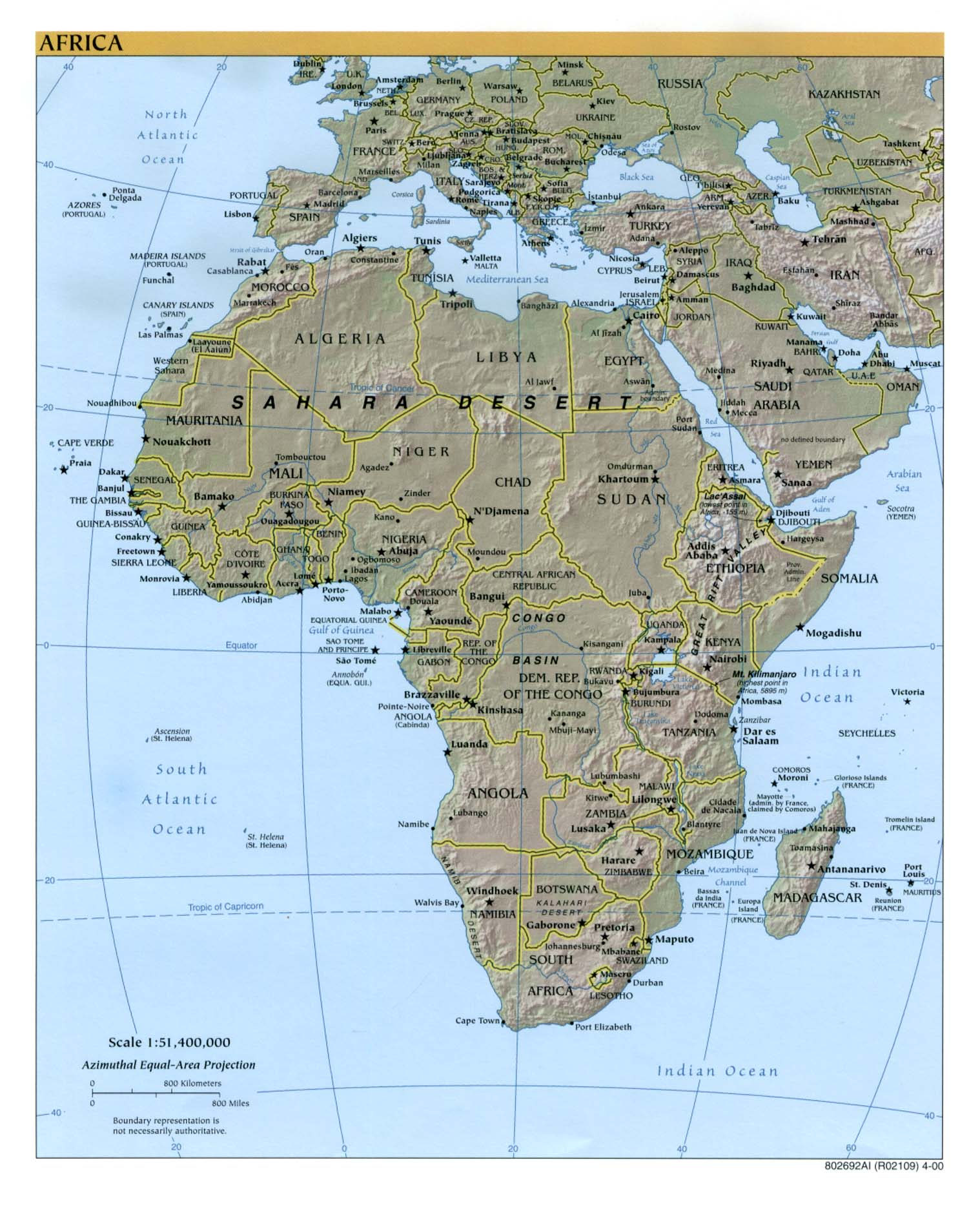 Africa Maps PerryCastañeda Map Collection UT Library Online - Africa physical map countries
