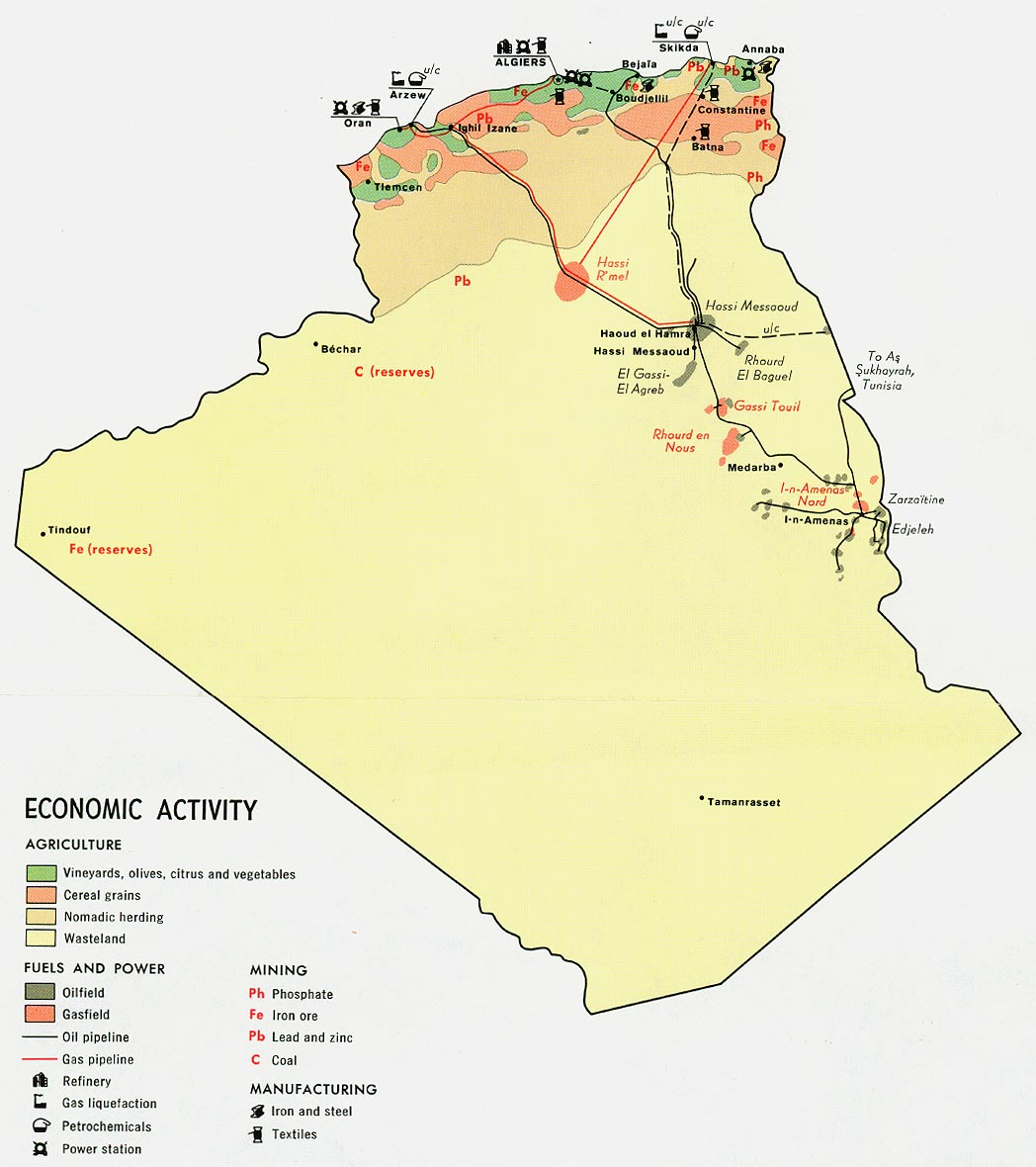 algeria economic activity from map