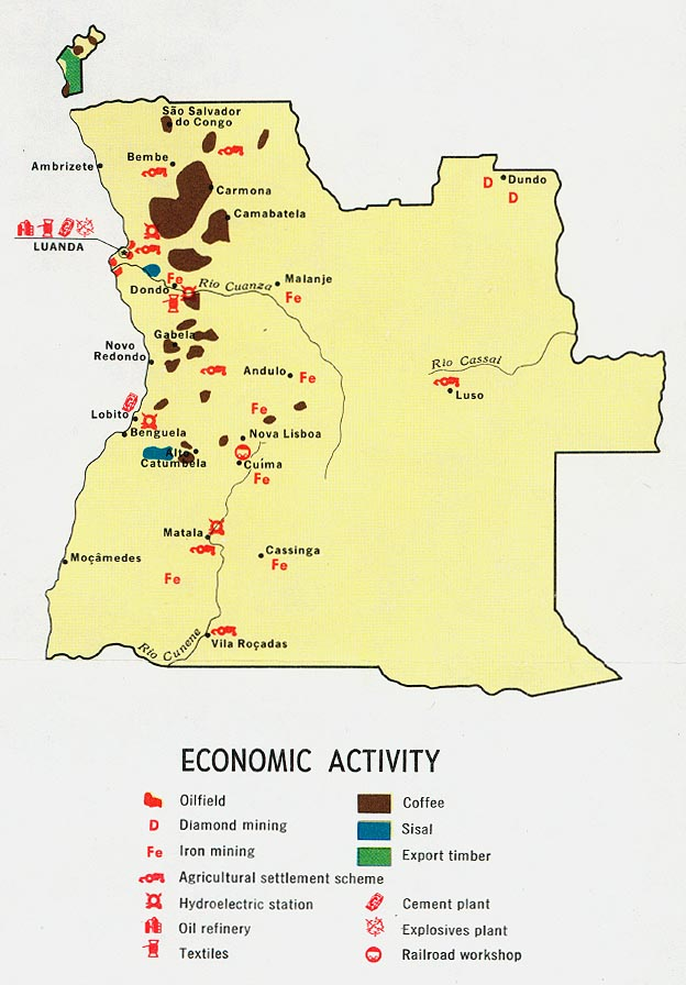 Angola Economic Activity From Map