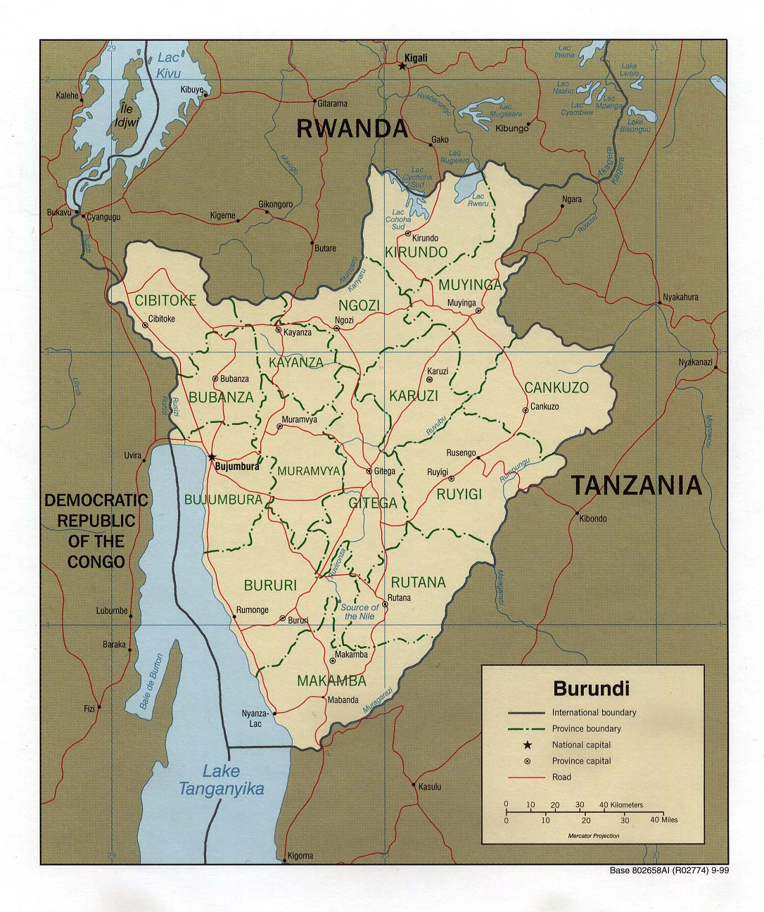 Map Of Burundi. Burundi [Political Map] 1999 (262K)
