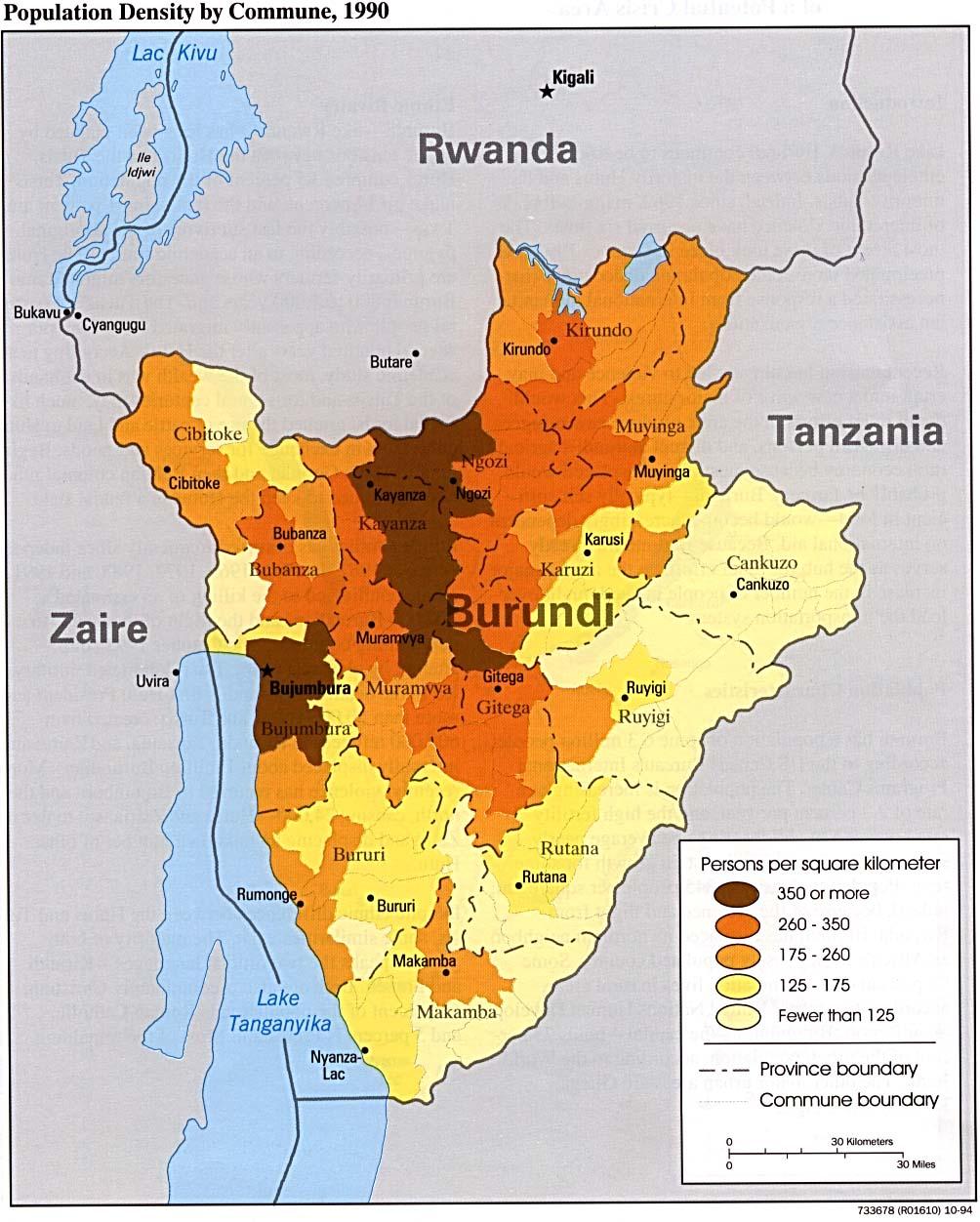 Burundi Population Density Map Burundi mappery