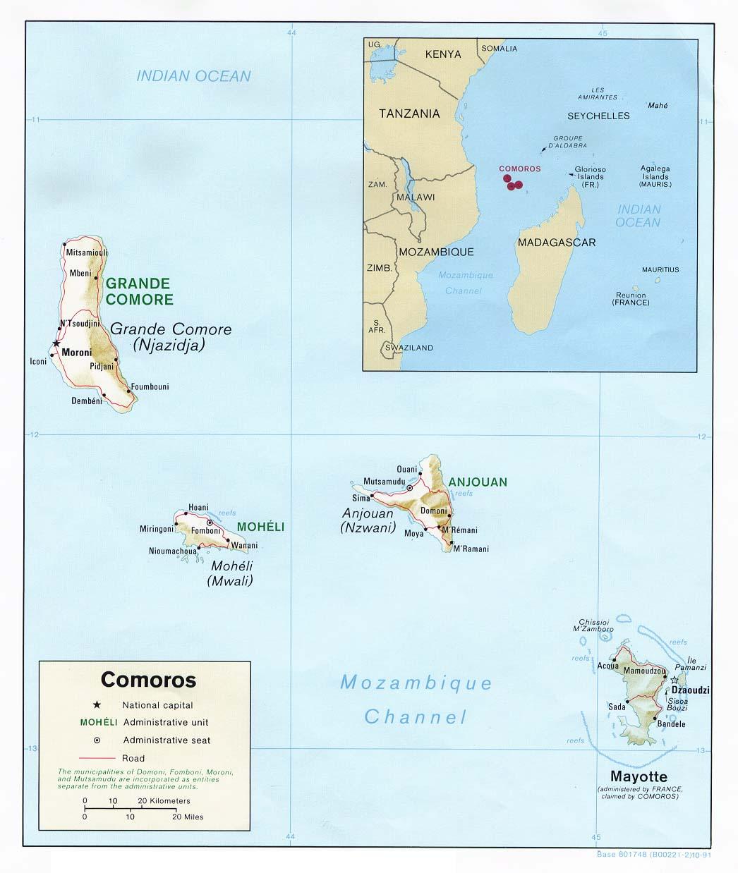Comoros Maps PerryCastañeda Map Collection UT Library Online - Comoros map