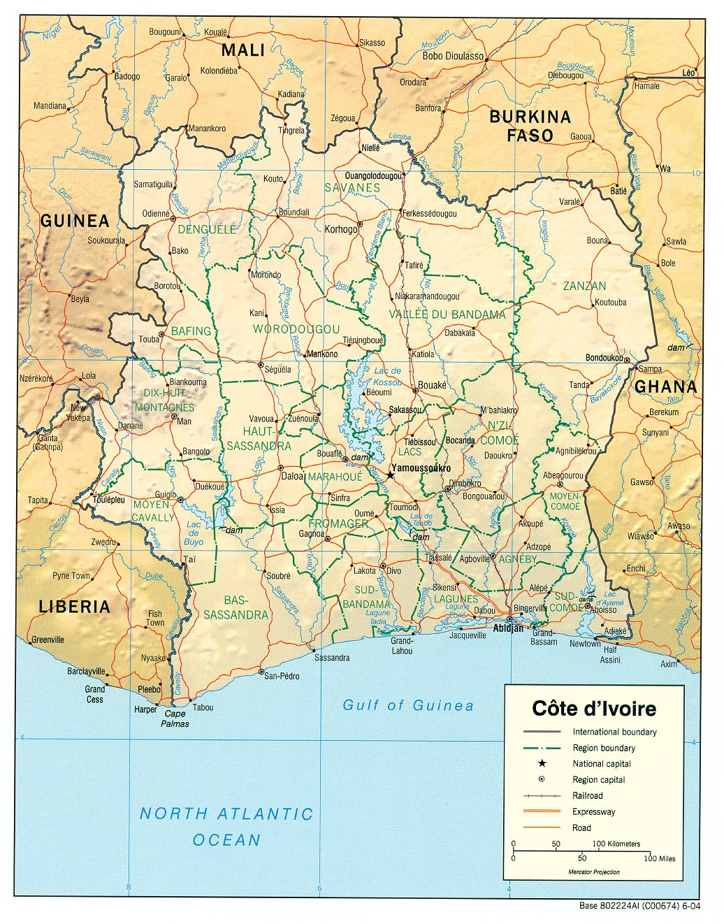 Maps Of Cote DIvoire - Ivory coast map of africa