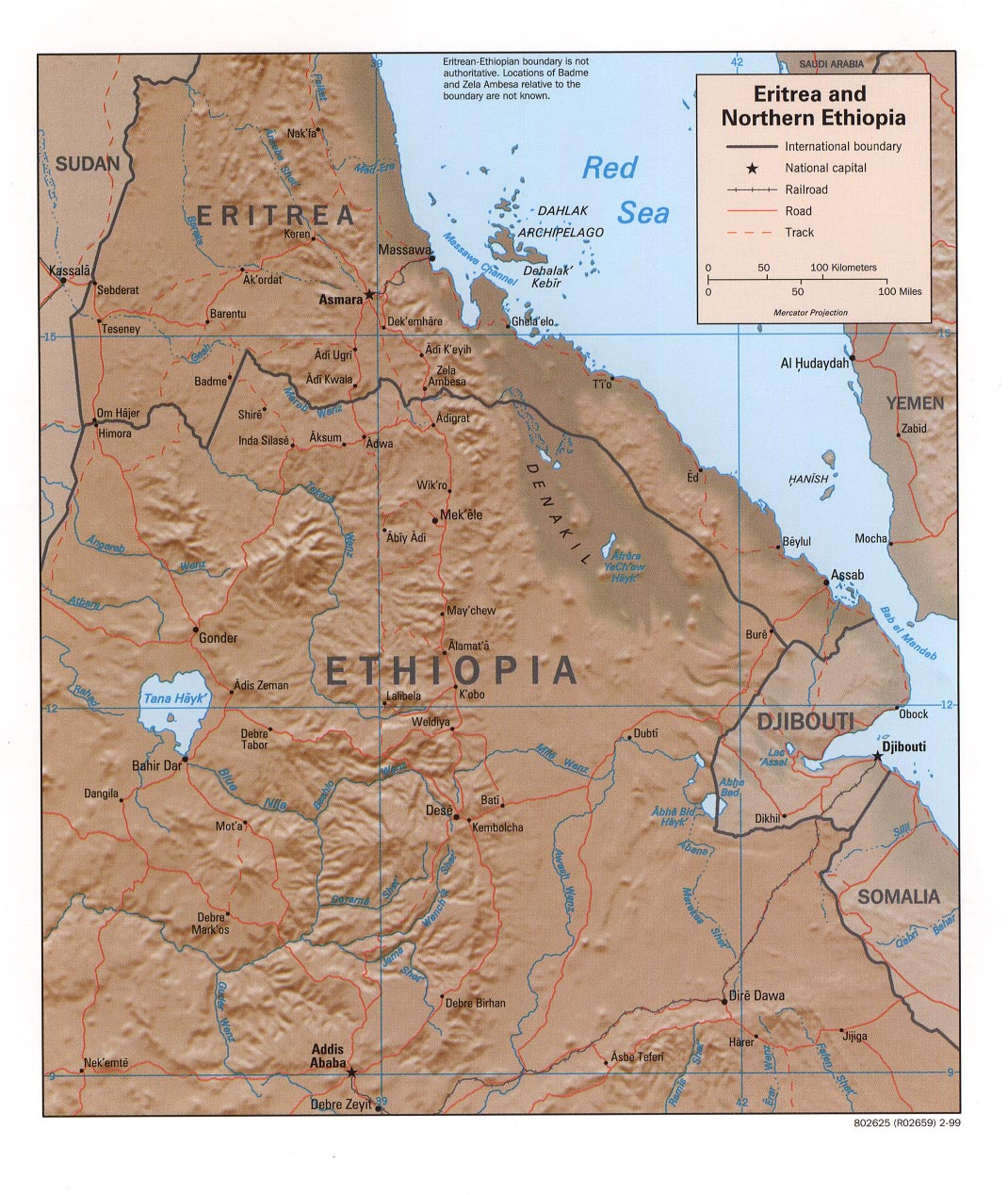 Eritrea maps eritrea and northern ethiopia shaded relief map 1999 321k gumiabroncs Gallery
