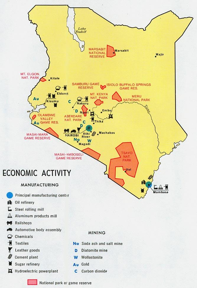 1974 Kenya Economic Activity From Map No 501721 Understanding