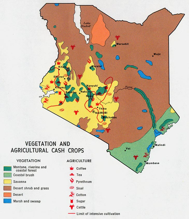 Kenya maps perry castaeda map collection ut library online kenya vegetation and agricultural cash crops gumiabroncs Images