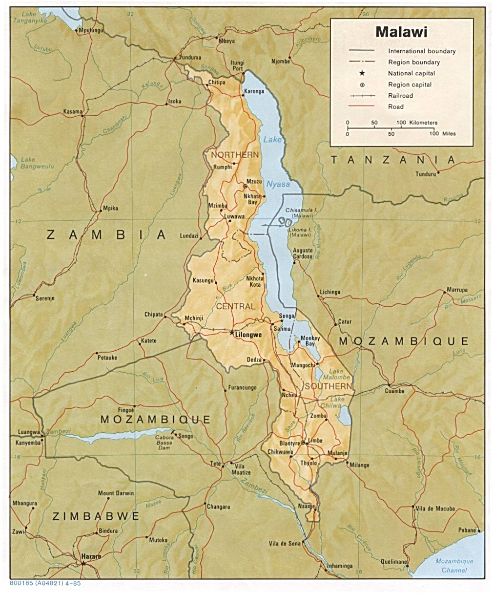Malawi On Africa Map.Malawi Maps Perry Castaneda Map Collection Ut Library Online
