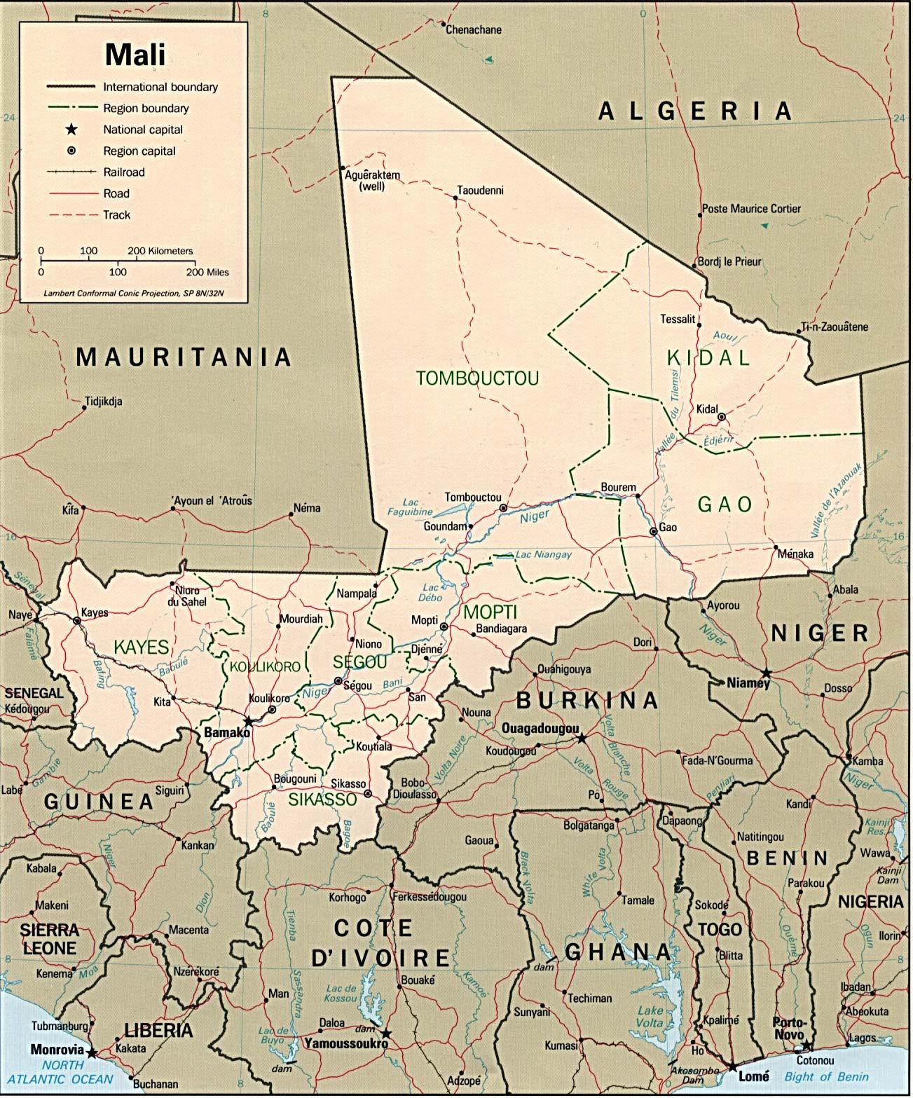 Map Of Mali Mali [Political Map] 1977 (415K)