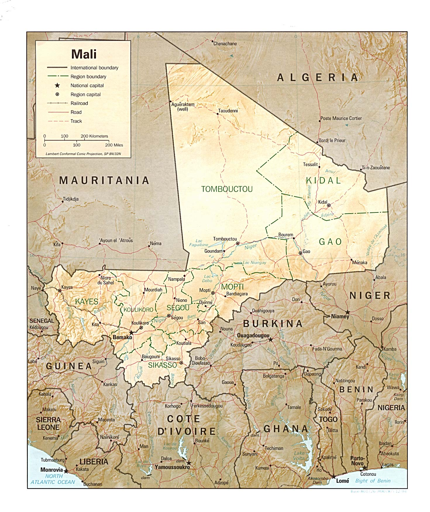 Map Of Mali Mali [Shaded Relief Map] 1994 (554K)
