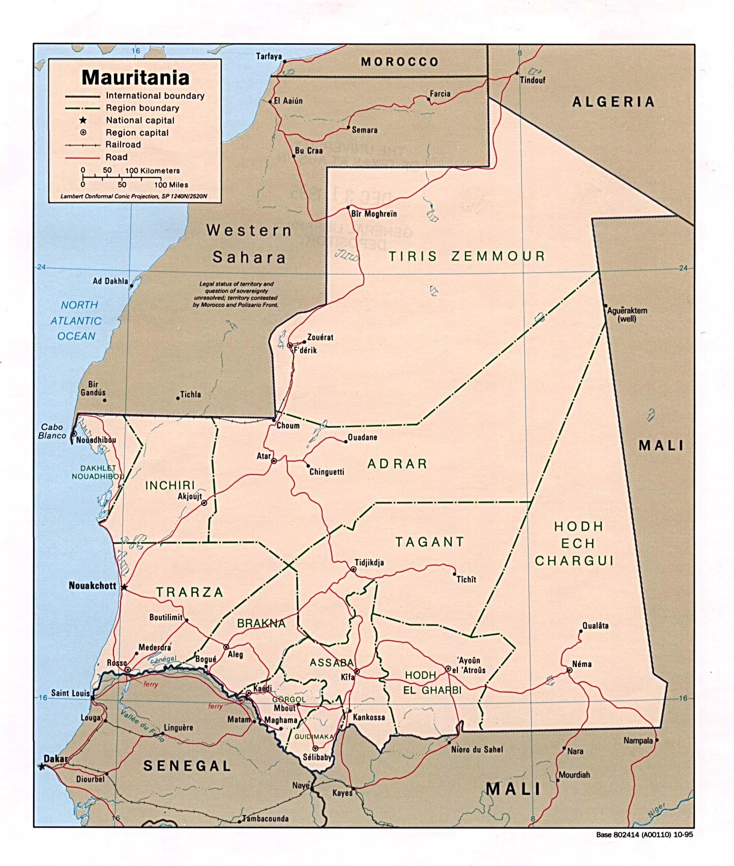 Map Of Mauritania Mauritania [Political Map] 1995 (396K)