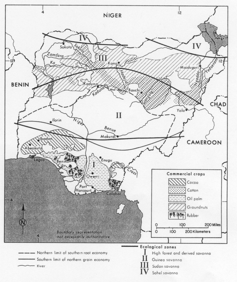 Nigeria maps perry castaeda map collection ut library online nigeria commerical crops and ecological zones ccuart Gallery