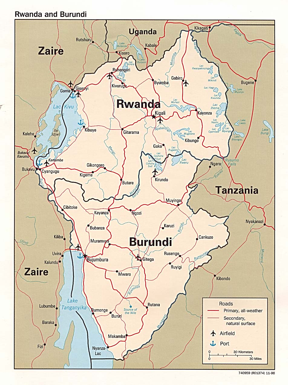 Rwanda Maps PerryCastañeda Map Collection UT Library Online - Burundi clickable map