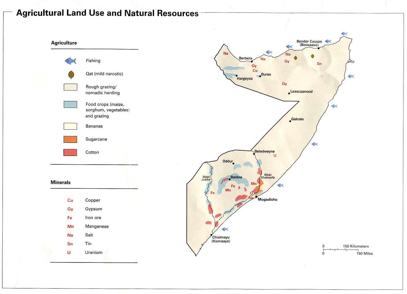 Map Of Africa Natural Resources.1992 Agricultural Land Use And Natural Resources From Somalia