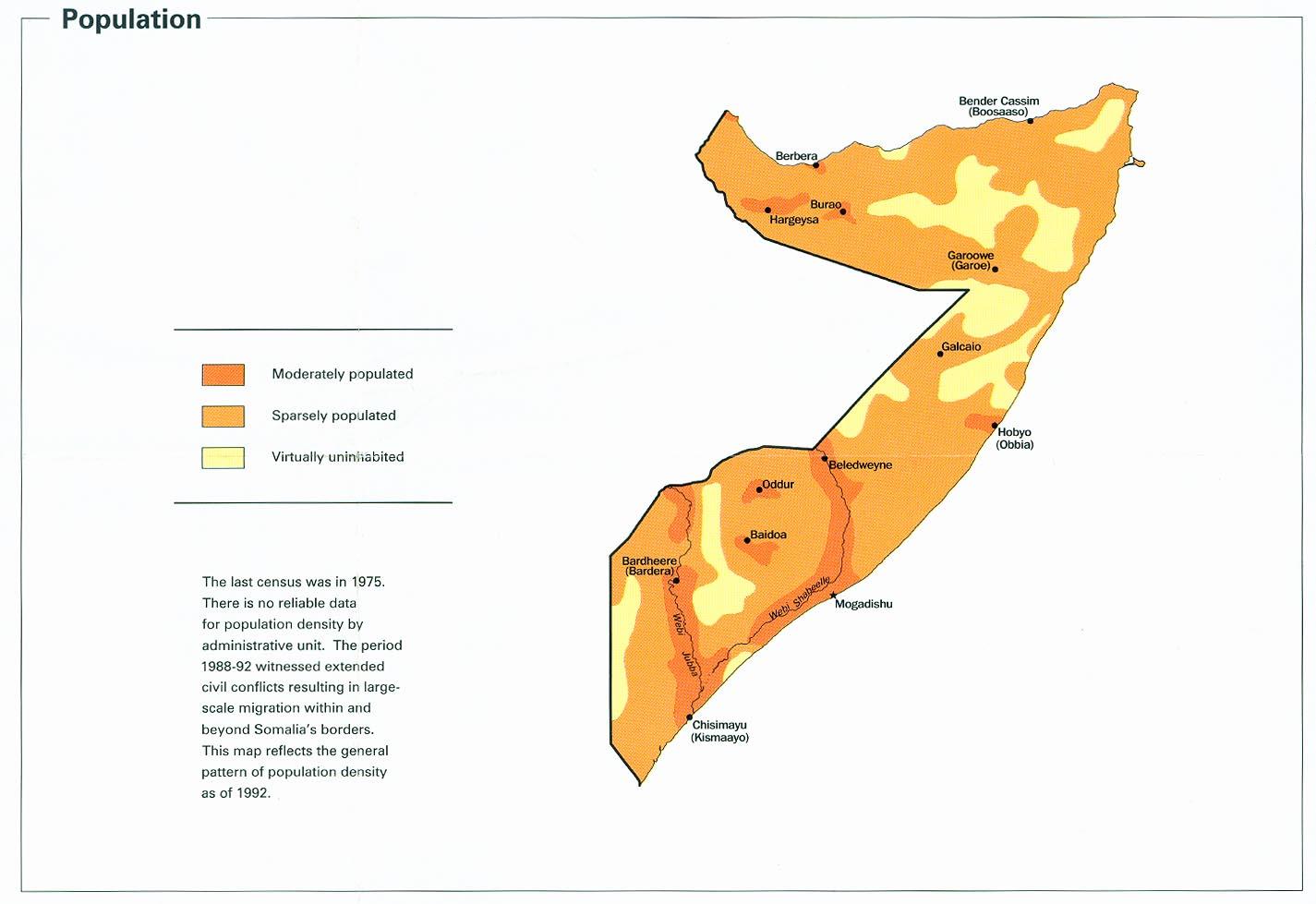Map Of Somalia Population from Somalia Summary Map, CIA 2002 (83K)