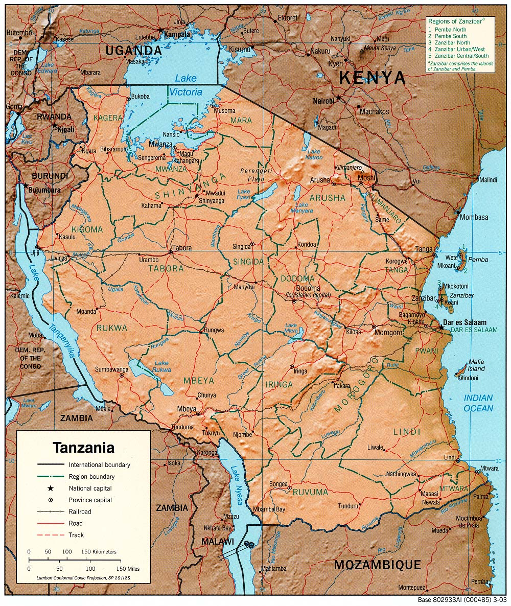 Tanzania Political Map.Tanzania Maps Perry Castaneda Map Collection Ut Library Online