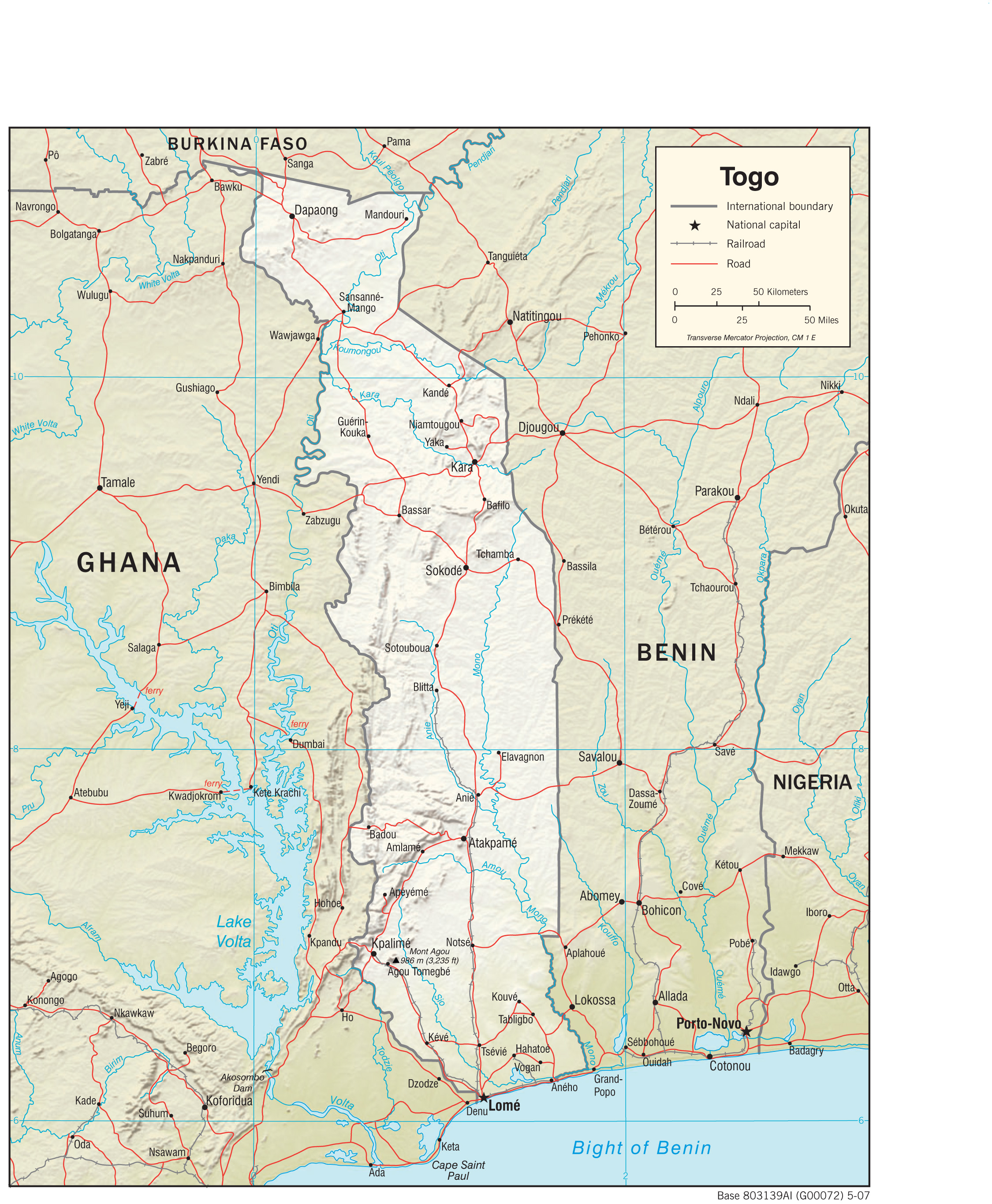 Togo maps perry castaeda map collection ut library online togo physiography 2007 17mb and pdf format 394k gumiabroncs Image collections