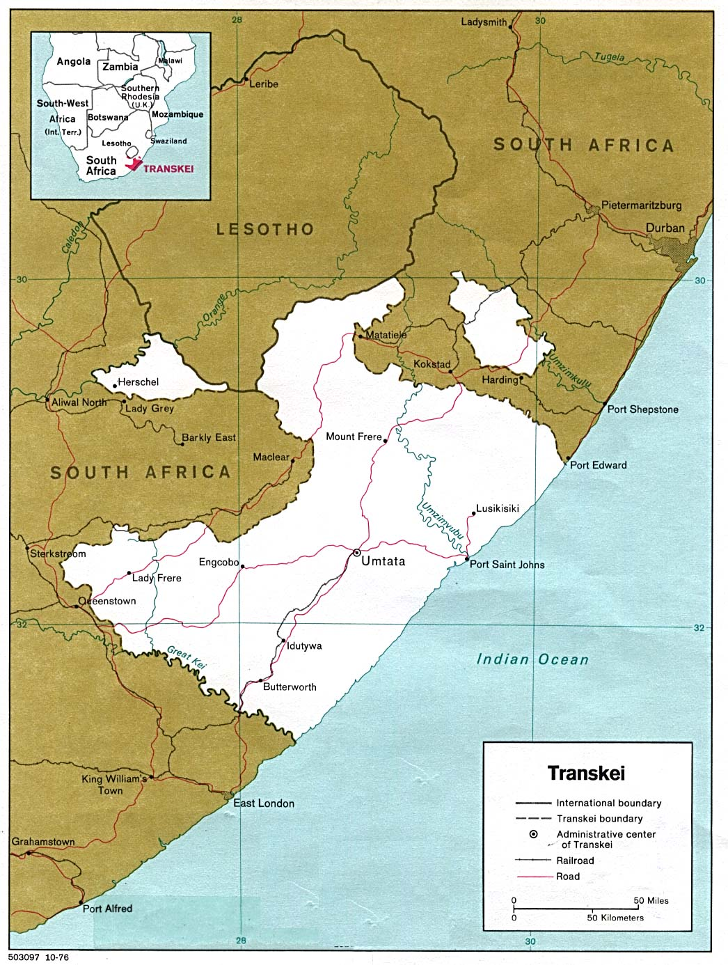 1Up Travel   Maps of South Africa. Transkei 1978 (266K)