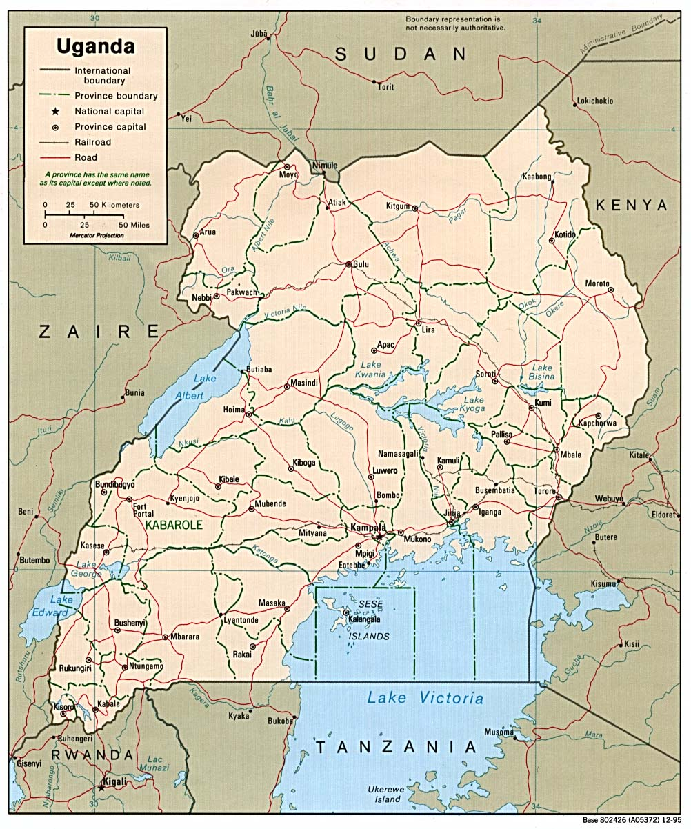 Uganda map, travel information, tourism & geography