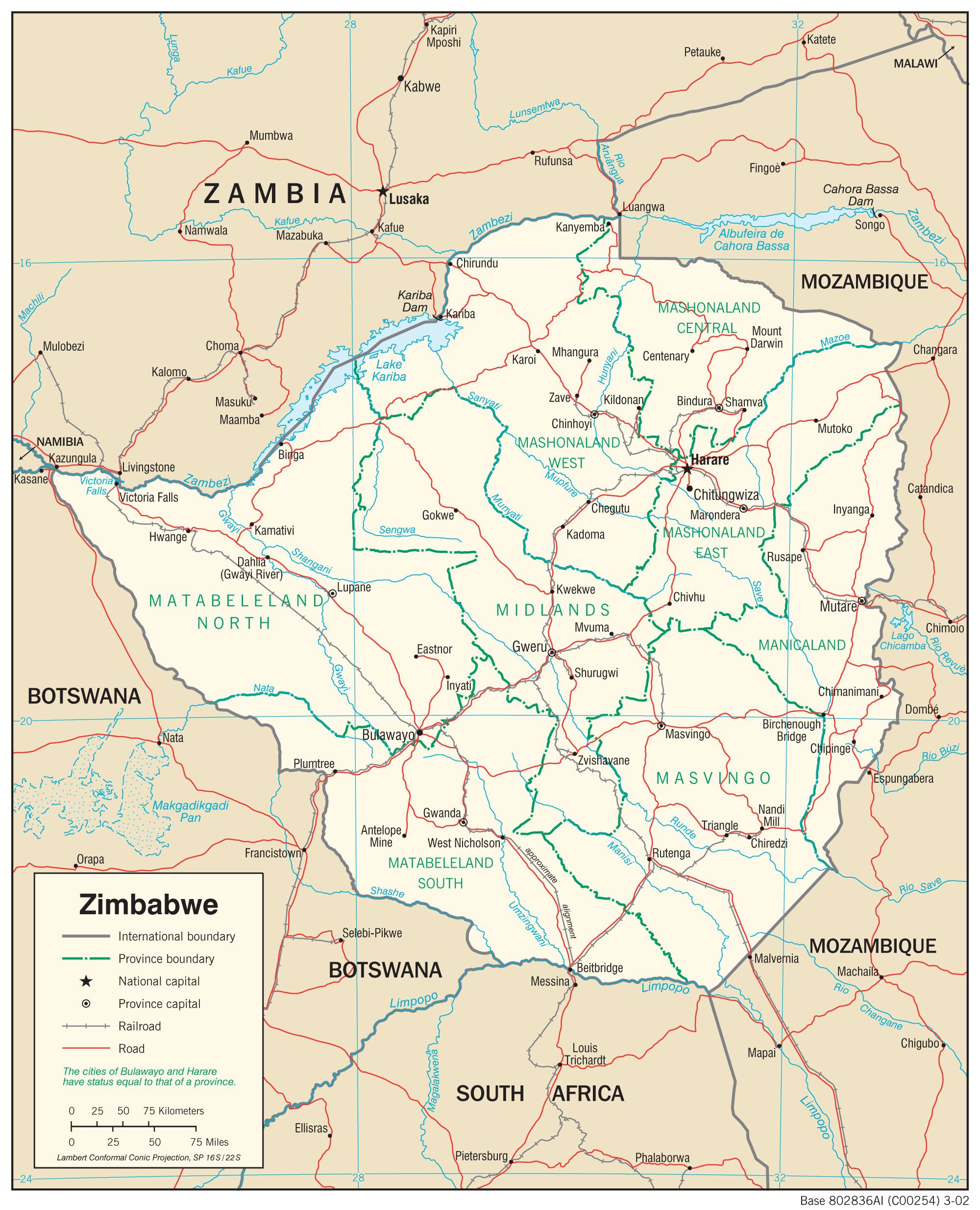 Zimbabwe Maps PerryCastañeda Map Collection UT Library Online - Zimbabwe map