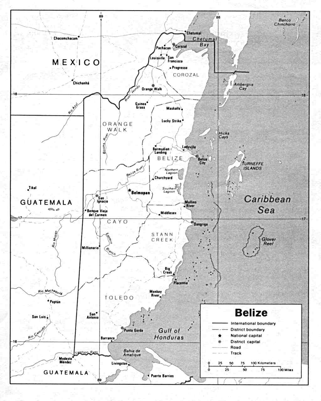 Map Of Belize, Belize [Political Map] U.S. Department of State 1990 (91K)
