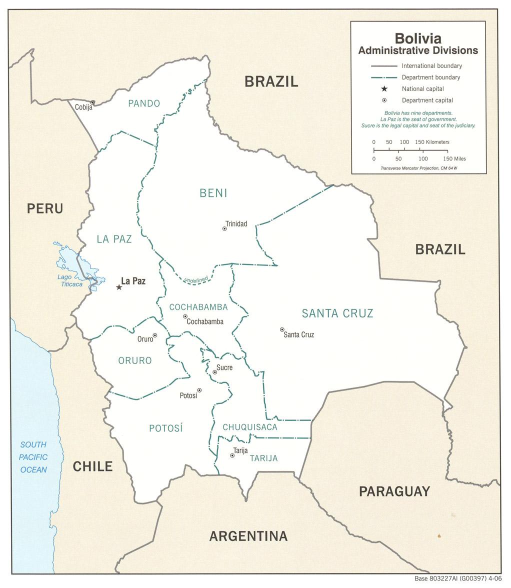 Bolivia Divisiones administrativas Mapa 2006.