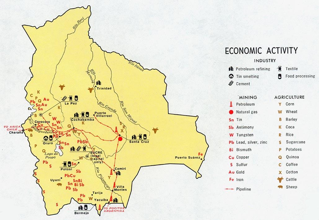 Bolivia Mapa económico 1971.