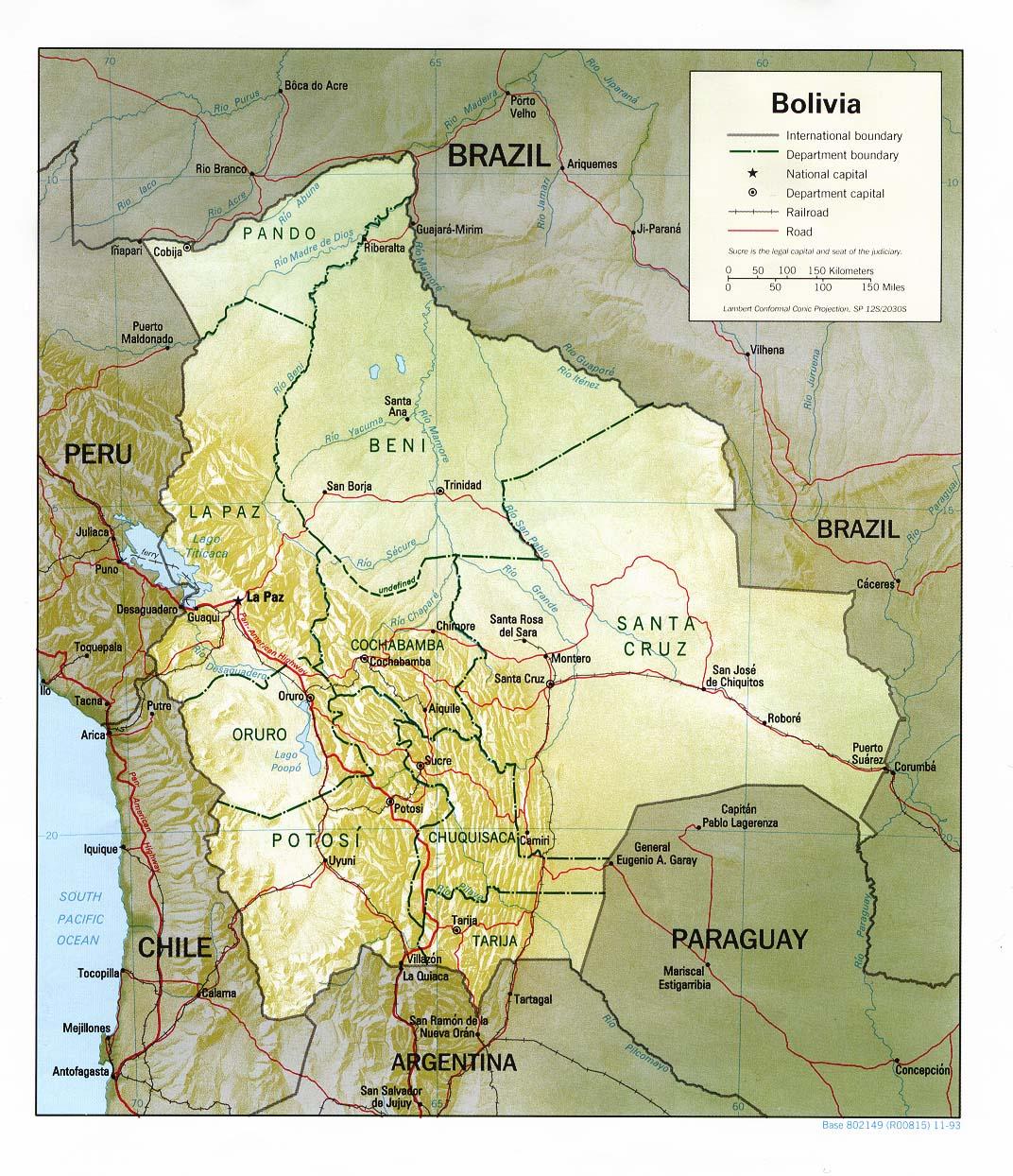 Bolivia Mapa de Relieve 1993.