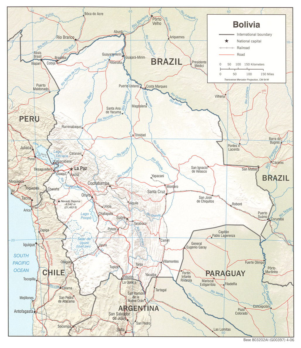 Bolivia Mapa de Relieve 2006.