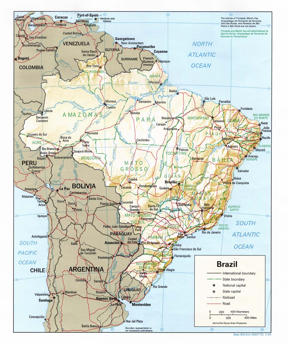 Map Of Brazil, Brazil [Shaded Relief Map] 1994 (264K)