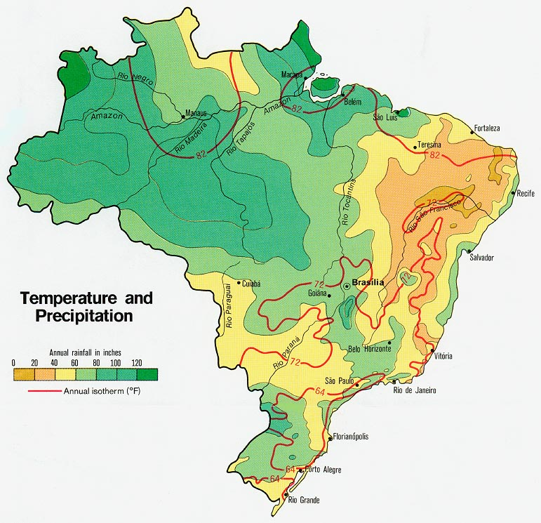 climate brazil temperature and precipitation from map