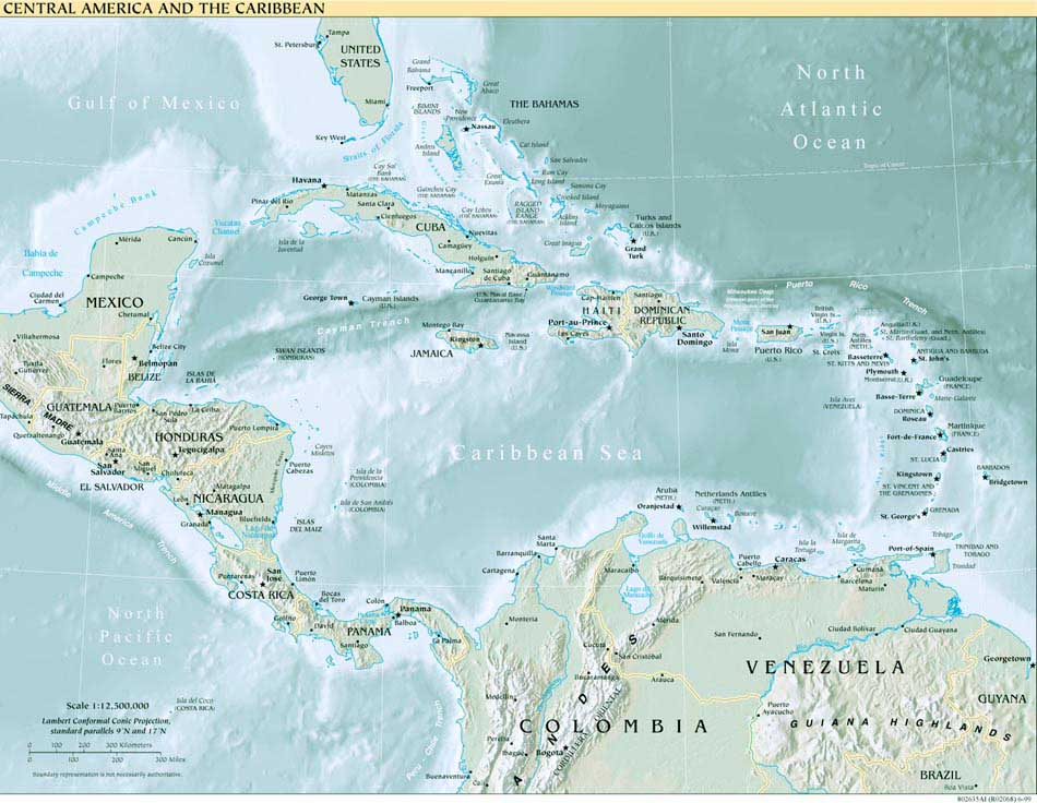 Americas Maps PerryCastañeda Map Collection UT Library Online - Central america caribbean physical map 2002