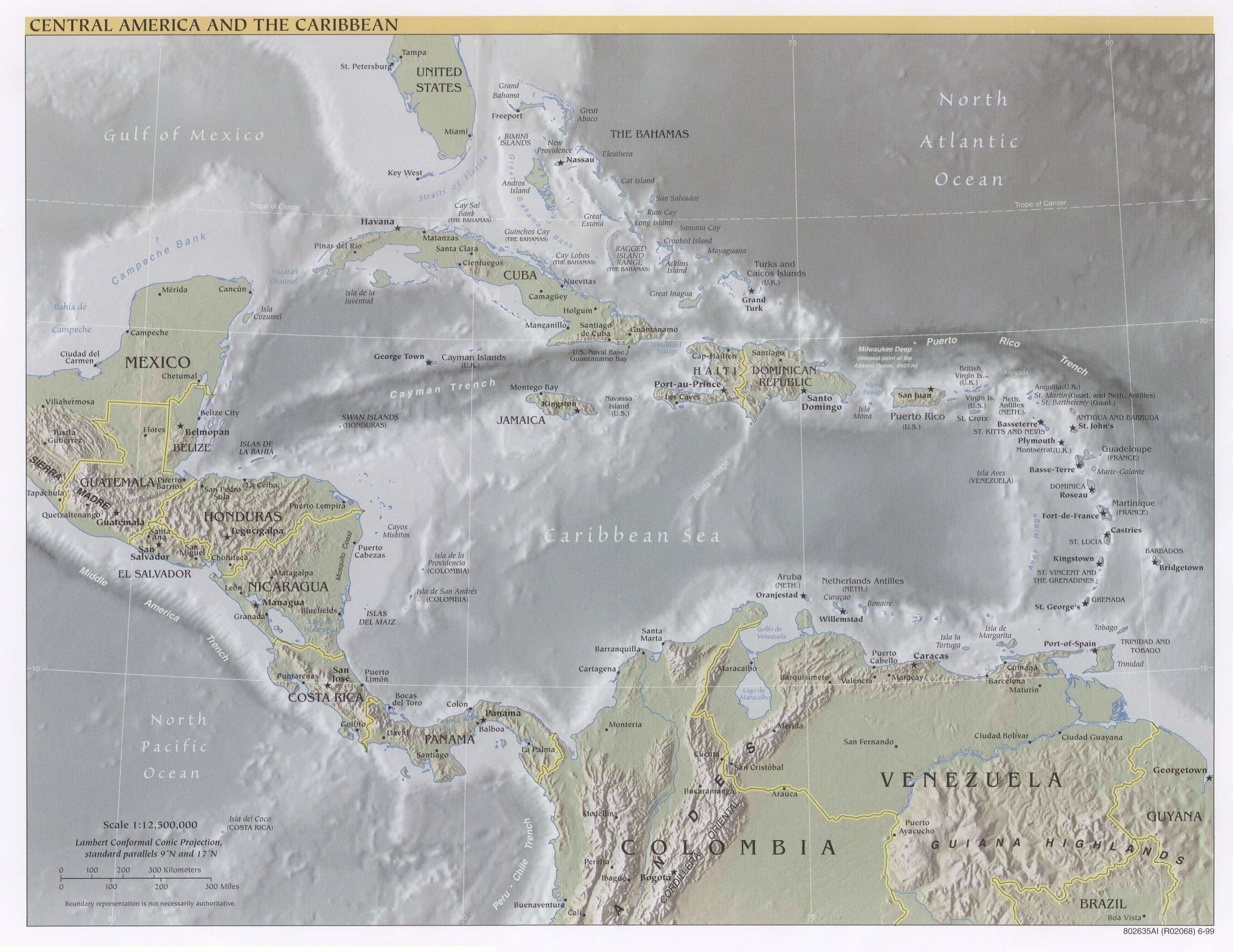 Americas Maps PerryCastañeda Map Collection UT Library Online - Central america physical map 2007