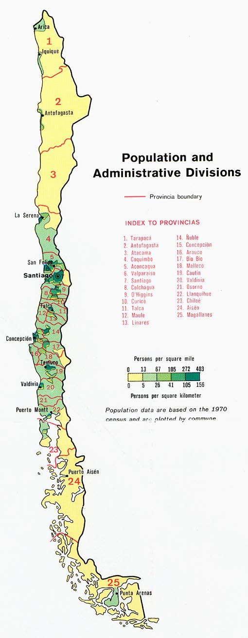 Chile población y Divisiones administrativas Mapa 1972.