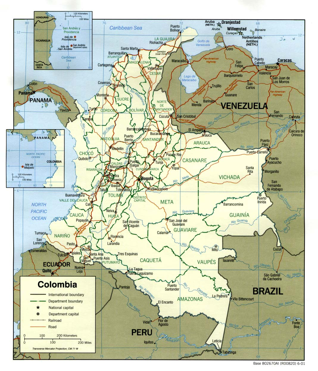 Colombia South America Map