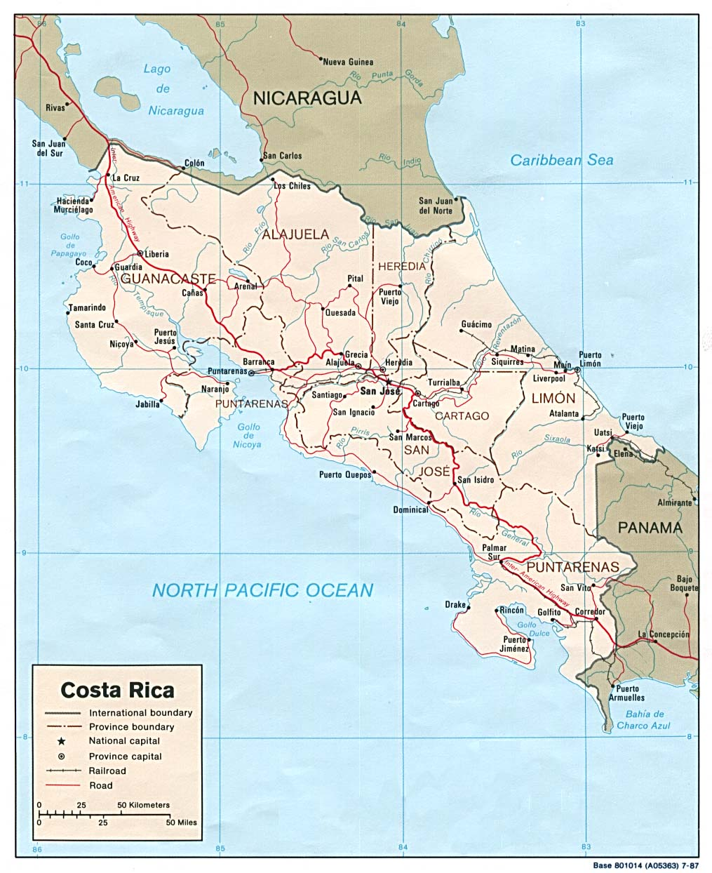 Costa Rica Maps Perry Castaneda Map Collection Ut Library Online