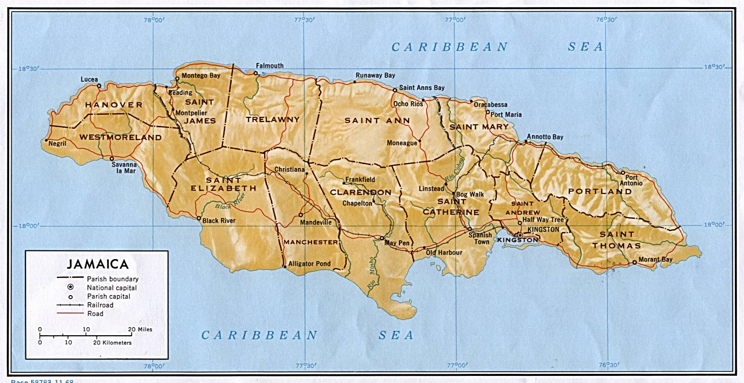 Jamaica maps perry castaeda map collection ut library online jamaica shaded gumiabroncs Gallery