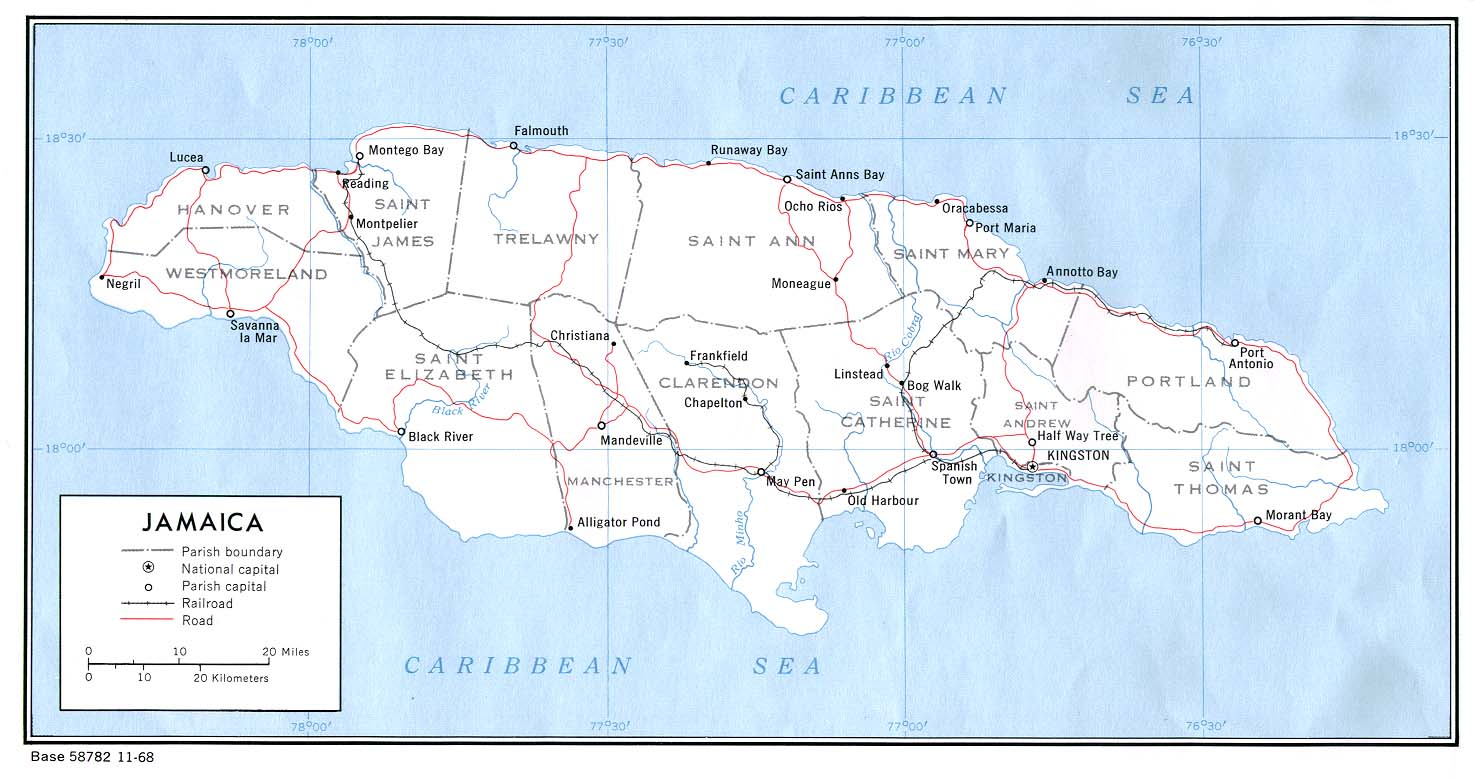 Map Of Jamaica - Jamaica map