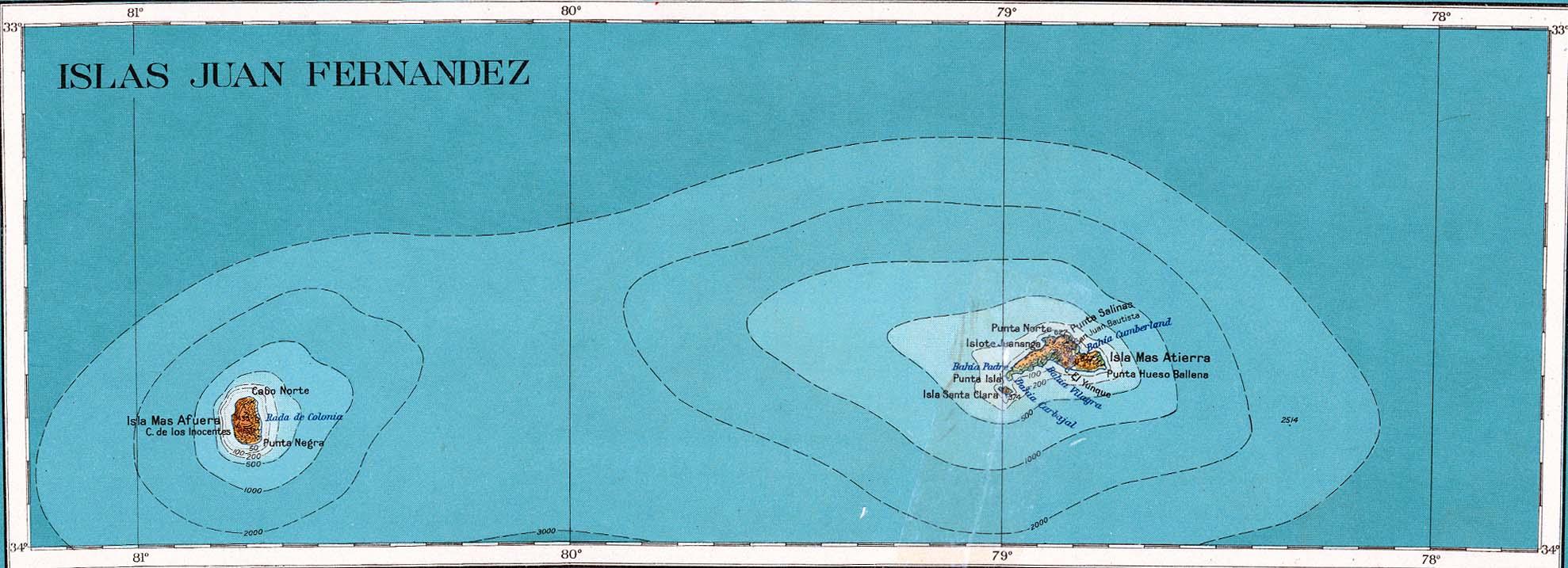 Juan Fernandez isla Mapa topográfico 1927.