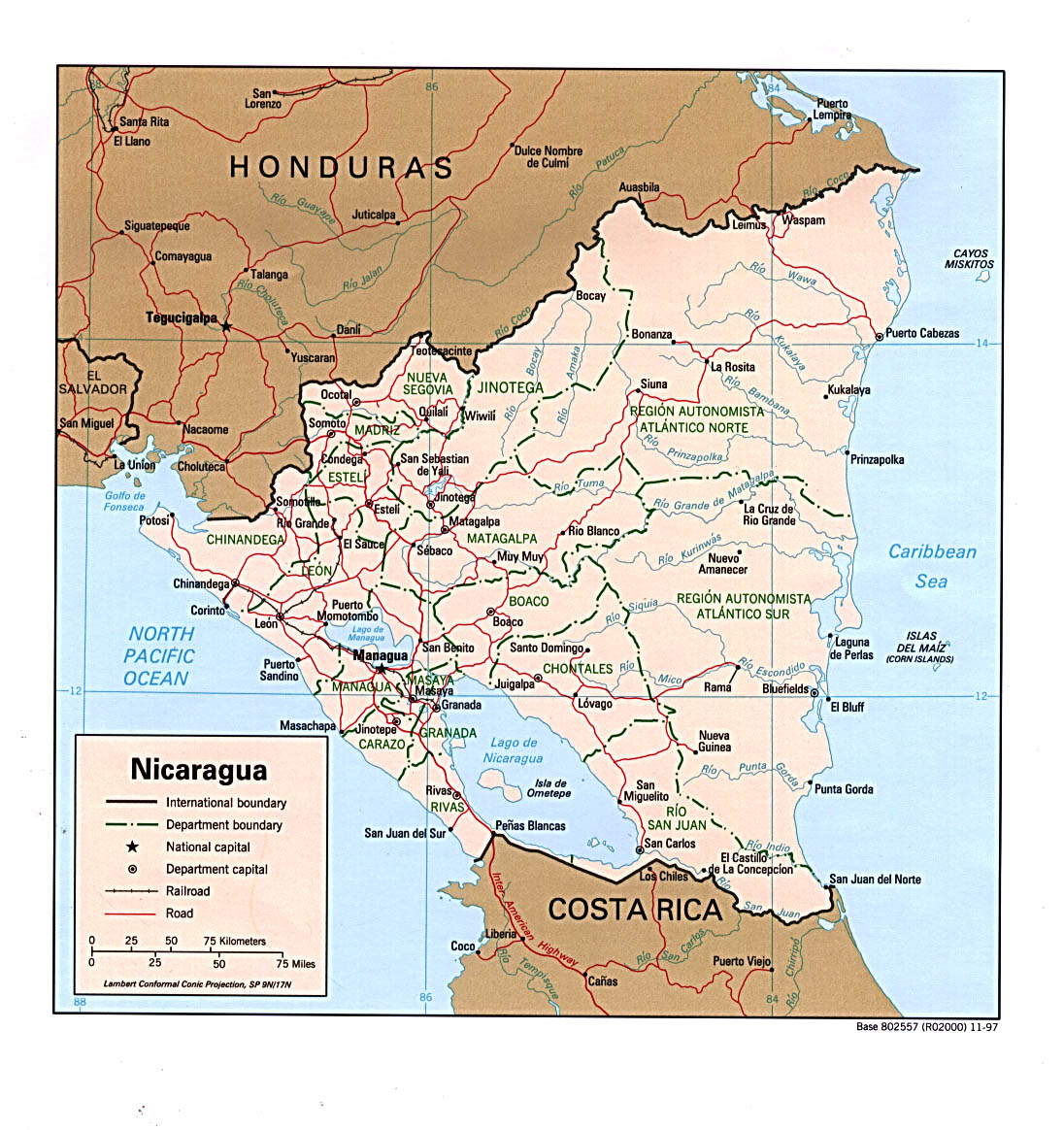 Nicaragua Maps PerryCastañeda Map Collection UT Library Online - Political map of nicaragua