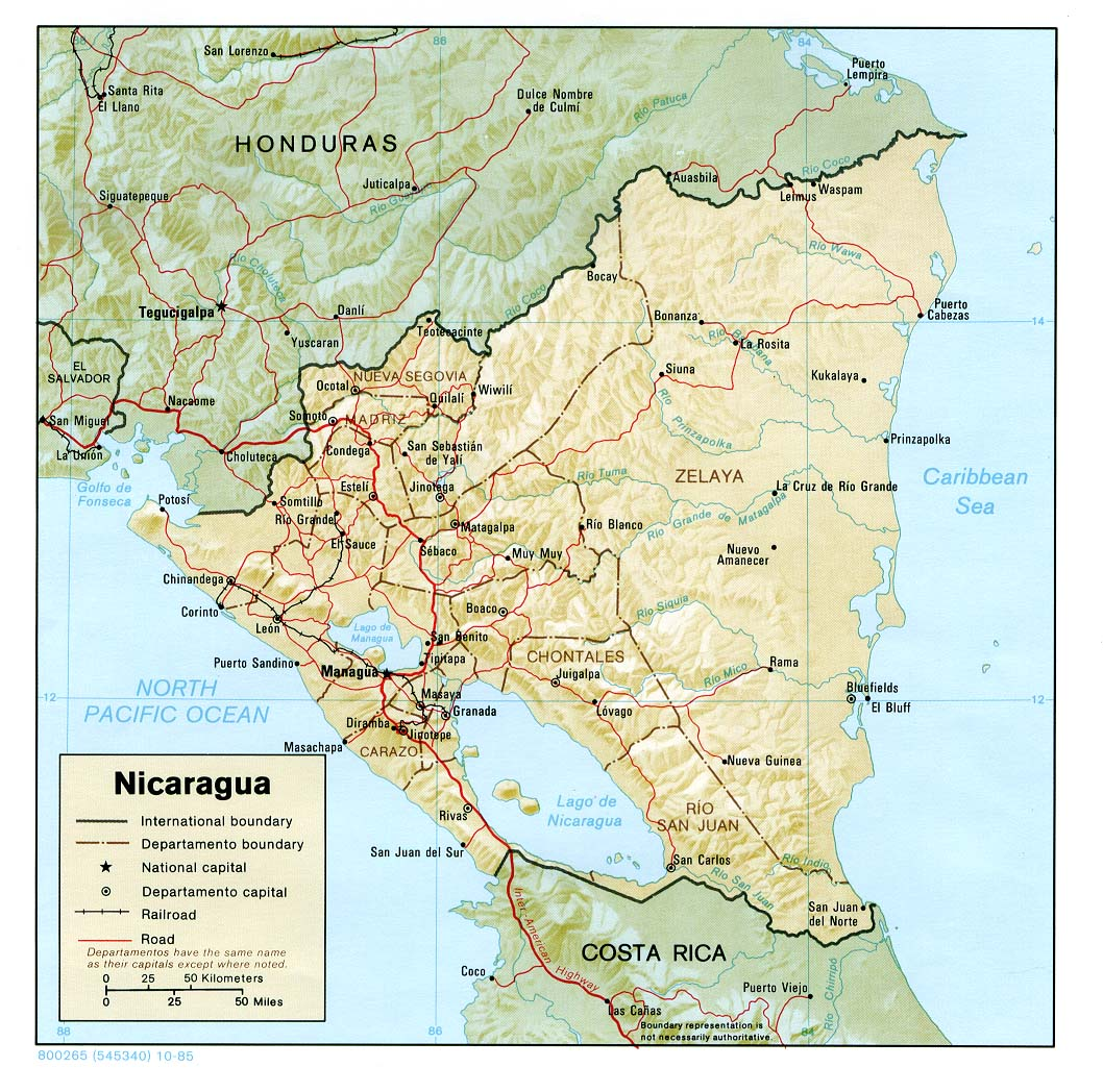 Map Of Nicaragua , Nicaragua [Shaded Relief Map] 1985 (250K)
