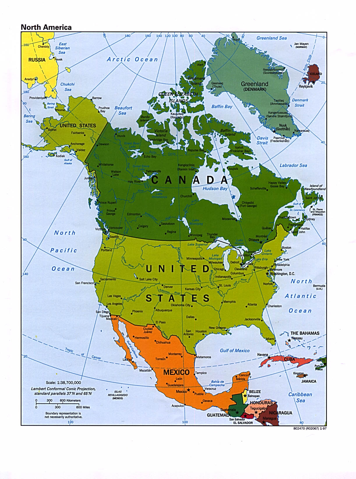 1Up Travel Maps of North America Continent North America – North America Travel Map