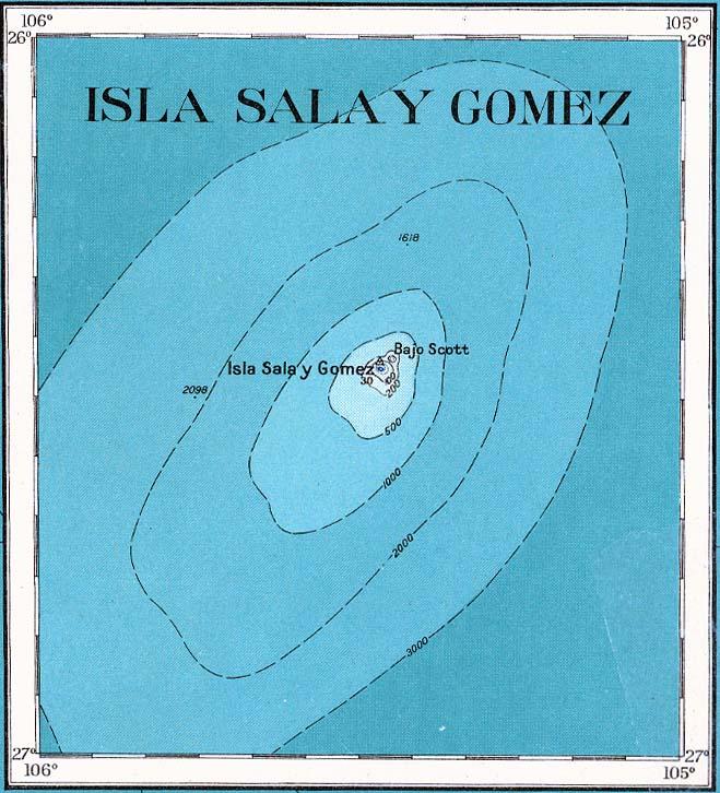 Sala y Gomez isla Mapa topográfico 1927.