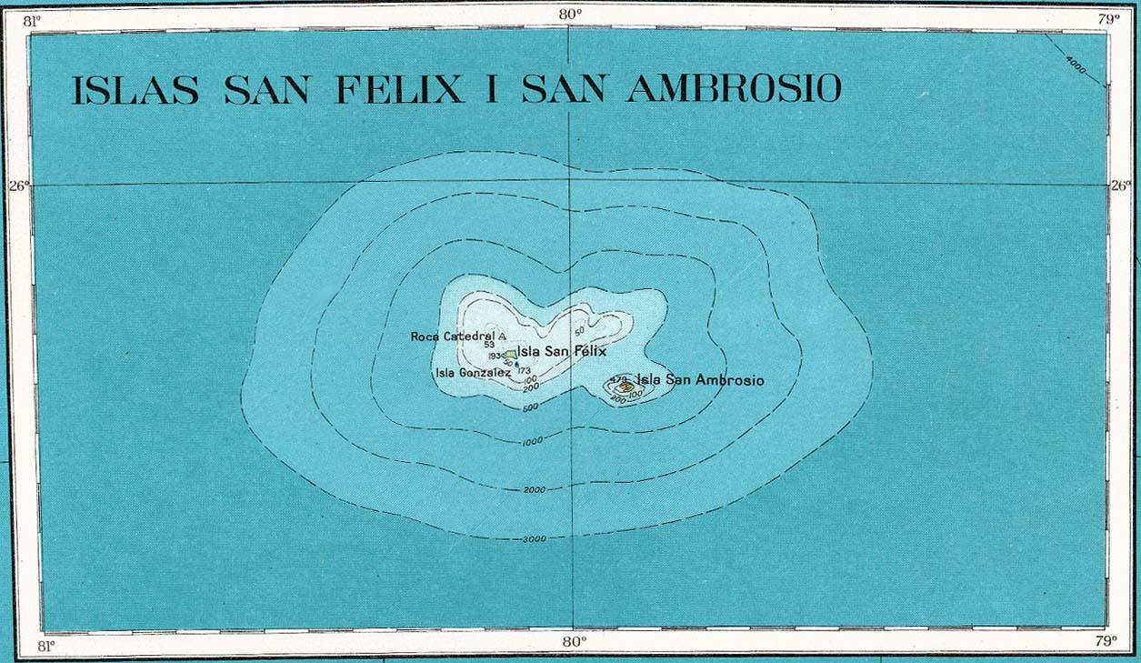 San Felix y San Ambrosio isla Mapa topográfico 1927.