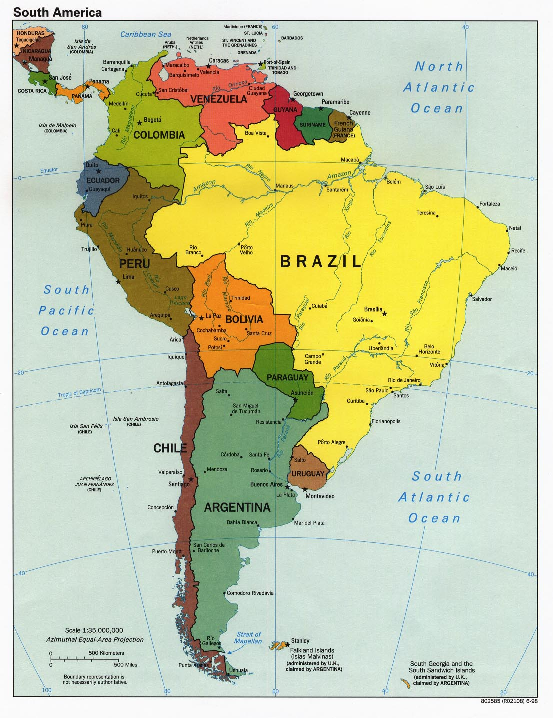 Map Of South America Continent. South America [Political Map] 1998 (323K)
