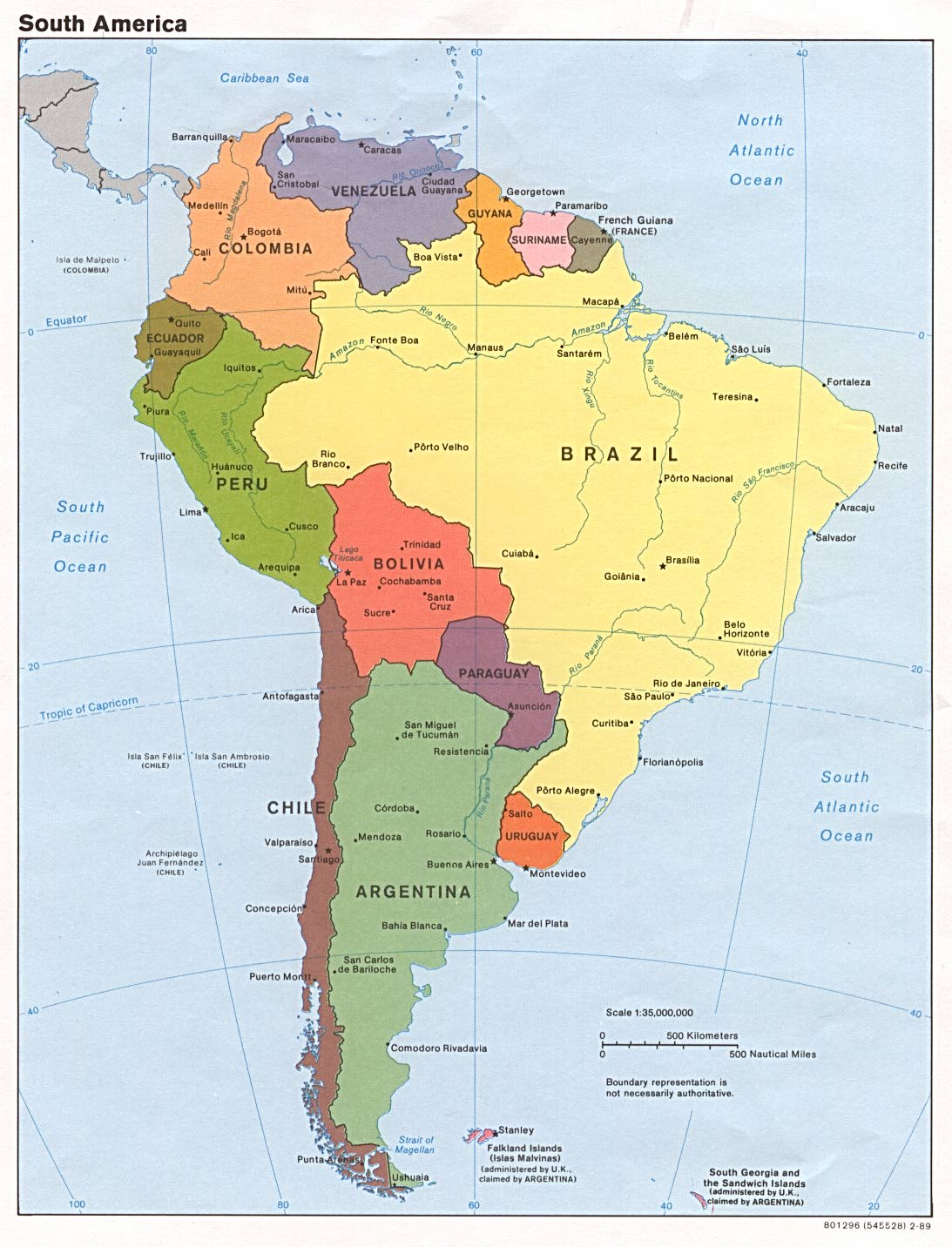 1Up Travel Maps of South America Continent South America Political Map 1