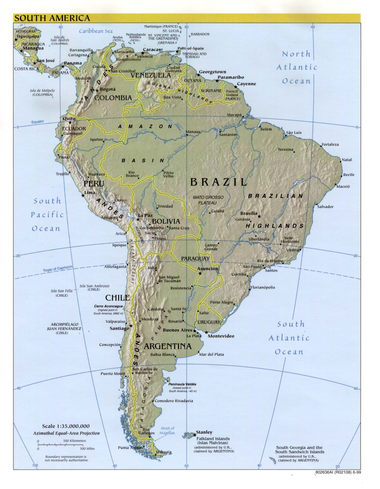 Map Of South America Continent. South America (Reference Map) 1999 Larger JPEG Image (267K)