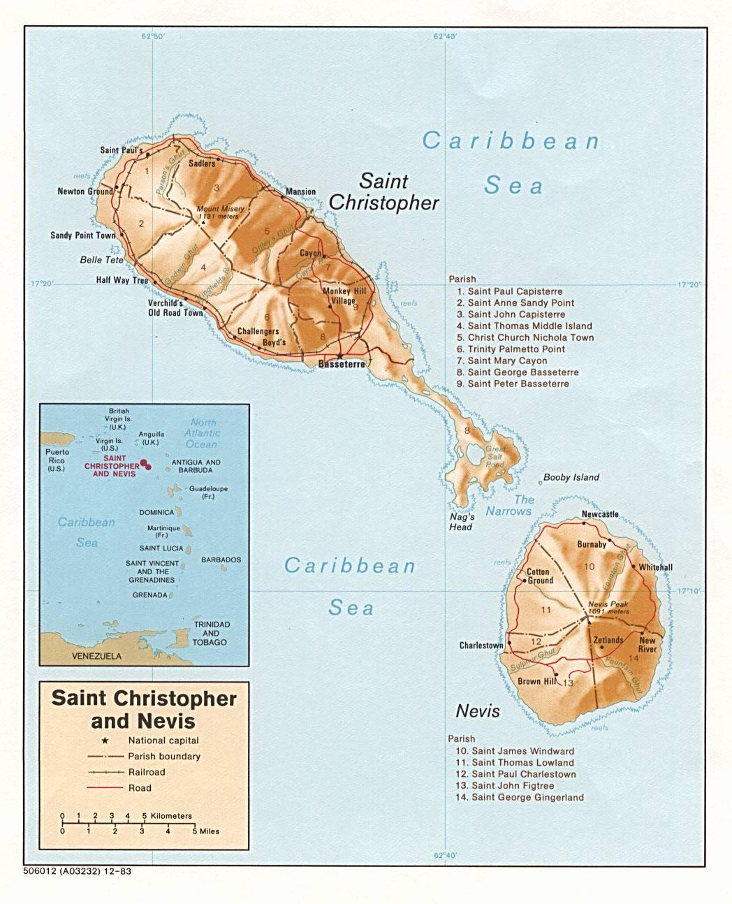 San Cristobal Y Nieves Mapas Datos Del Pais Viajes Historia