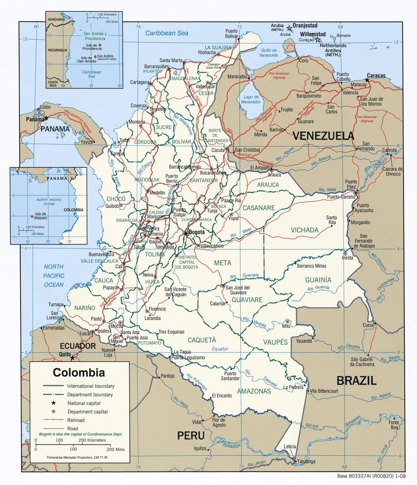 Topographic Map Of Colombia.Colombia Maps Perry Castaneda Map Collection Ut Library Online