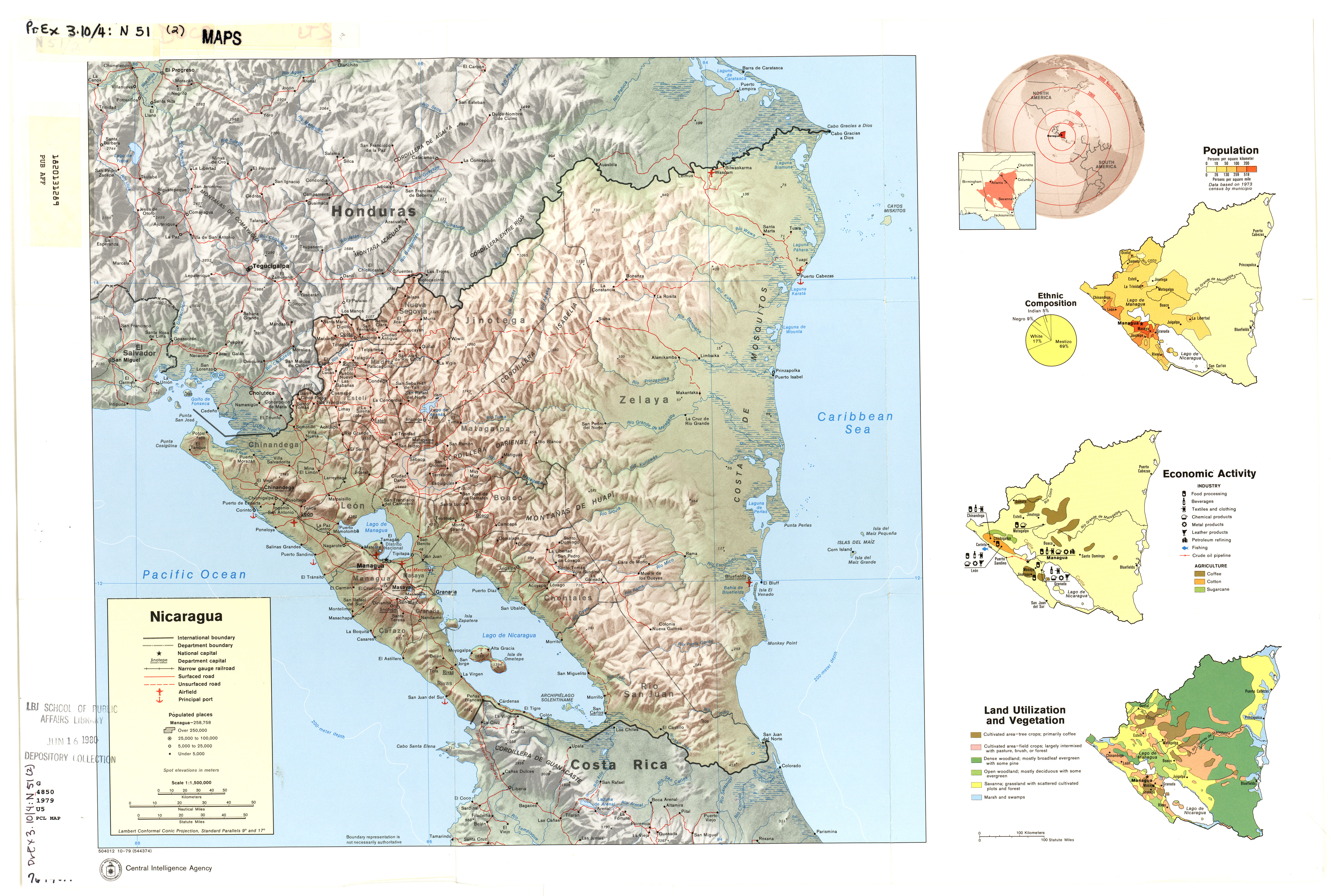 Nicaragua Maps PerryCastañeda Map Collection UT Library Online - North america topographic map